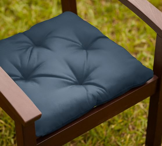 Tufted Outdoor Dining Chair Cushion, Outdoor Canvas, Ink Blue