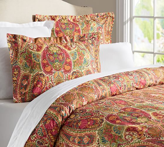 Rosalie Paisley Duvet Cover, Twin, Red