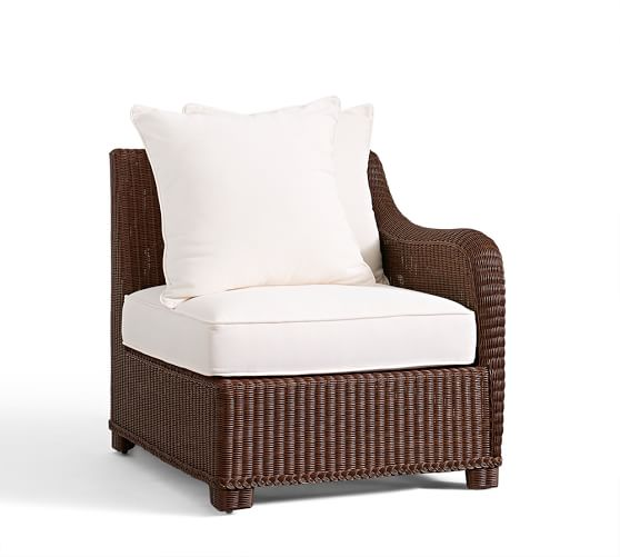 Palmetto All-Weather Wicker Sectional Right Arm Chair & Cushion, Honey