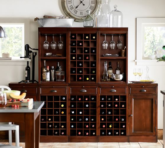 8-Piece Modular Bar Wall Unit (3 wine grid & 2 cabinet bases, 2 open & 1 wine grid hutch), Mahogany stain