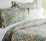 Phillipa Ikat Duvet Cover, Twin, Blue/Gold