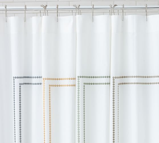 Pearl Embroidered Shower Curtain, Dark Porcelain Blue