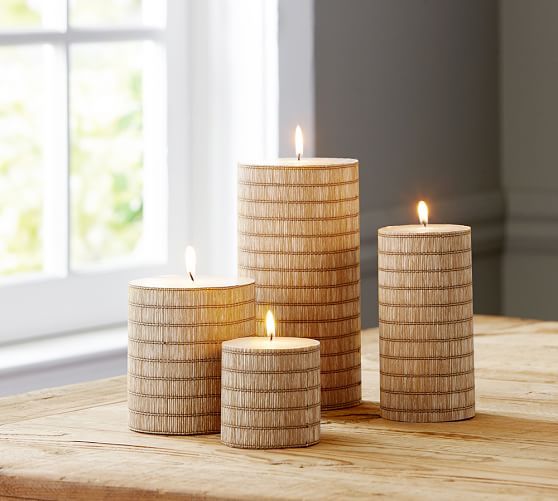 Natural Weave Raffia Pillar Candle, 4 x 4.5