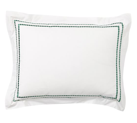 Pearl Embroidered 280-Thread-Count Sham, Standard, Emerald