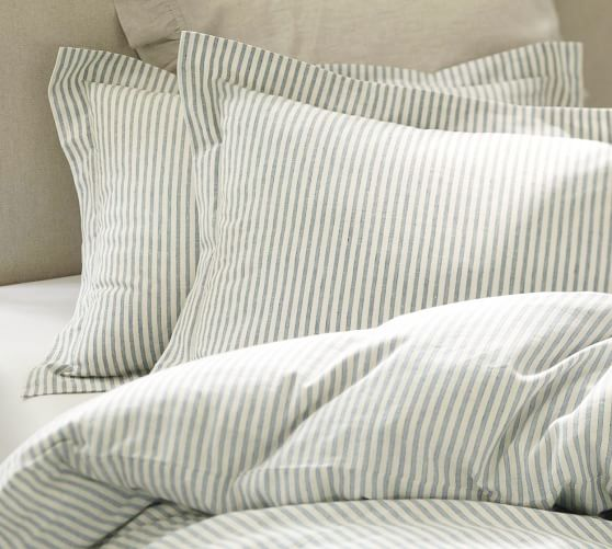 Vintage Ticking Stripe Duvet Cover, Twin, Blue