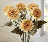 Faux Teddy Bear Sunflower Stem, Yellow