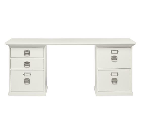 Bedford 5- Drawer Rectangular Desk, Antique White