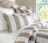 PB Classic Stripe 400-Thread-Count Duvet Cover, Twin, Taupe