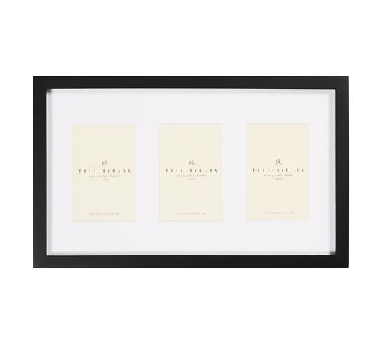 """Wood Gallery Picture Frame, 4 x 6"""" Triple, Black"""