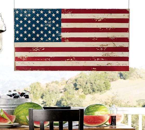 Painted American Flag Wall Art, 27 x 50