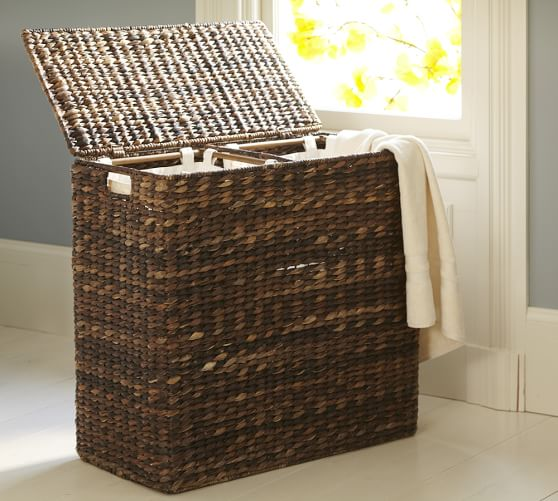 Perry Divided Hamper & Liner, Havana Weave