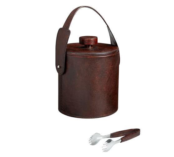 Saddle Leather Lidded Ice Bucket & Tongs, Chocolate