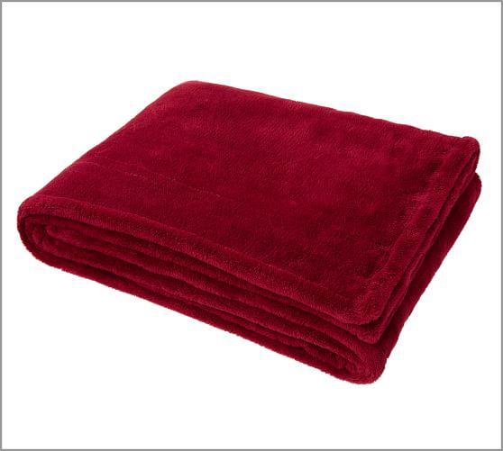 PB Essential Cozy Throw, Cardinal Red, 50 x70