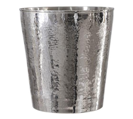 Hammered Nickel Wastebasket, Polished Nickel finish