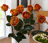 Faux Harvest Orange Tea Rose Stem