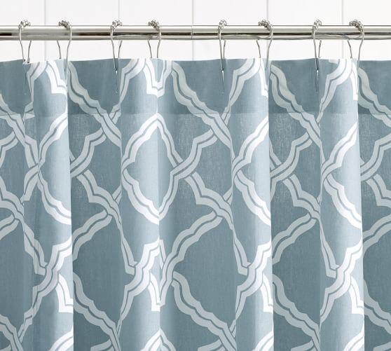 Kendra Trellis Shower Curtain, Porcelain Blue
