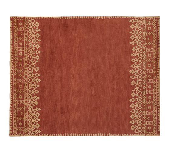 Desa Bordered Wool Rug, 3x5', Terra Cotta