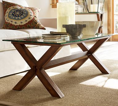 wood glass rectangular coffee table espresso stain pottery barn