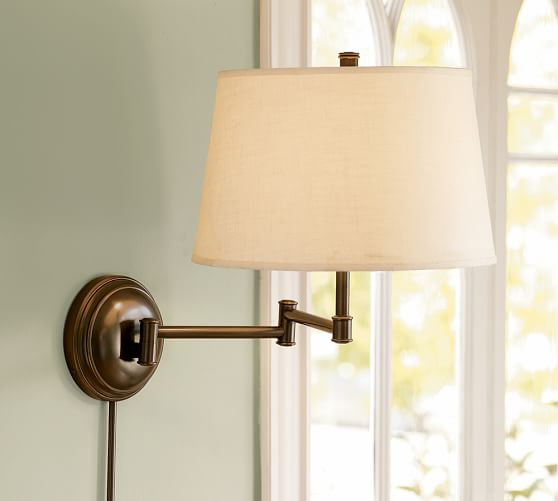 CFL Chelsea Swing-Arm Sconce Base with Flax Linen Shade, Antique Brass finish