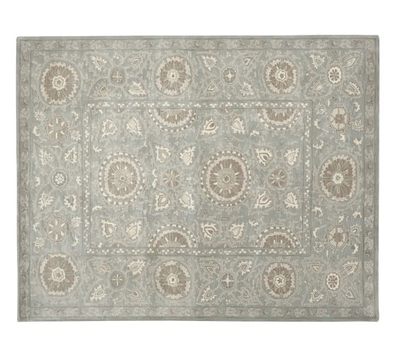 Suzani Tufted Rug, 2.5x9', Blue