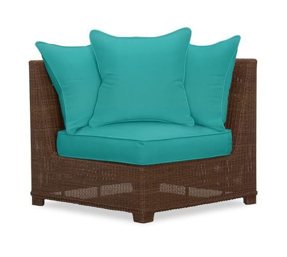 Palmetto Corner Sectional Cushion Slipcover, Sunbrella® Aruba