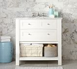 Classic Single Sink Console, White, Carrara Marble & Chrome Finish Knobs