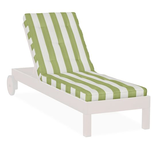 Universal Tufted Single Chaise Cushion, Outdoor Canvas PB Classic Stripe, Jade Green