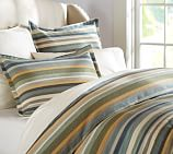 Logan Stripe Duvet Cover, Twin, Blue
