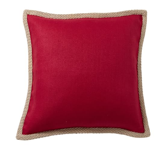 "Jute Braid Pillow Cover, 20"", Cherry Red"