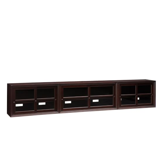 Winslow Large Long Media Stand(3 Large Glass Door Media Stand), Espresso stain