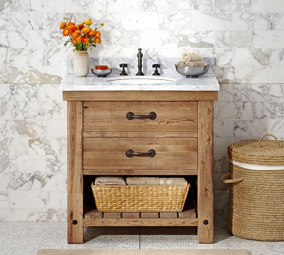 Benchwright Single Sink Console, Wax Pine Finish