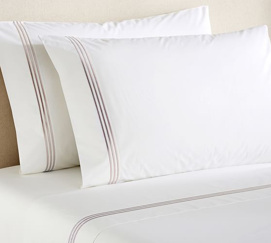 Grand Embroidered 280-Thread-Count Sheet Set, Full, Taupe
