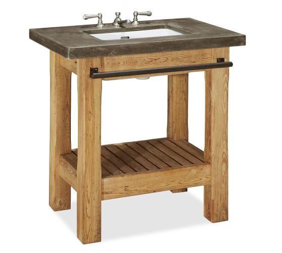 Abbott Concrete Counter & Reclaimed Wood Single Sink Console