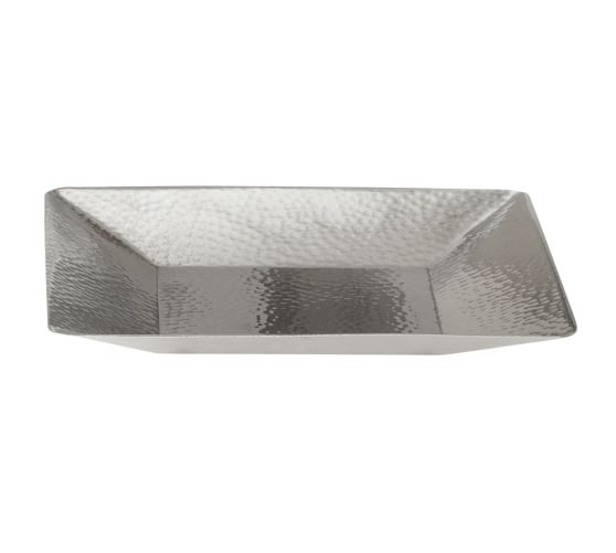 Hammered Nickel Tray, Polished Nickel finish
