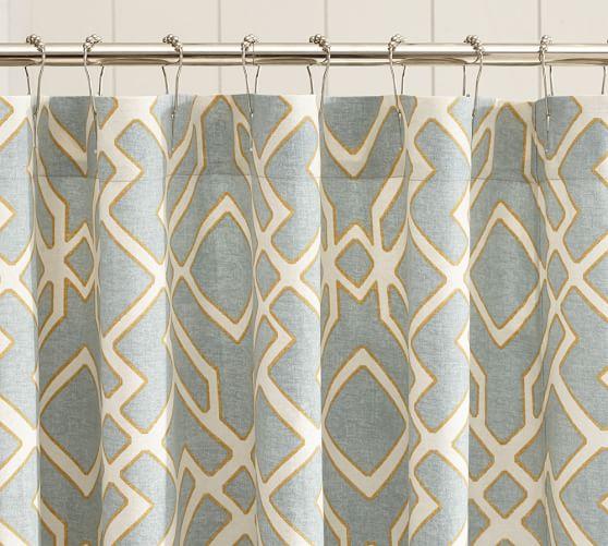 Shelby Geometric Shower Curtain, Blue
