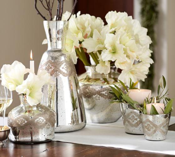Mercury Glass Vase, Large