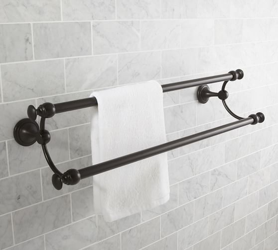 "Mercer Double Towel Bar, 24"", Antique Bronze finish"