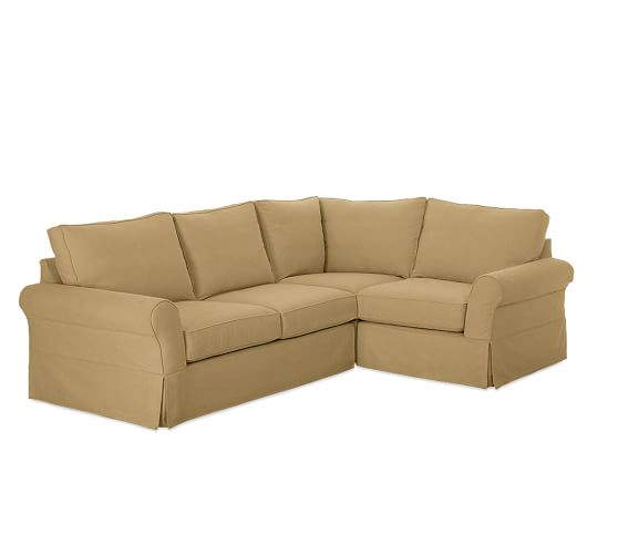 PB Comfort Roll Arm Slipcovered Left Arm 3-Piece Corner Sectional, Box Edge Polyester Wrapped Cushions, Performance Everydaysuede™ Nutmeg