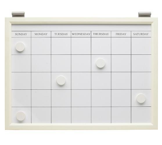 Magnetic Whiteboard Calendar, White