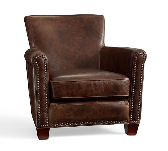 Irving Leather Armchair, Bronze Nailheads, Polyester Wrapped Cushions, Molasses