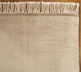 Fringed Hand-Loomed Wool Rug Swatch, Heathered Taupe