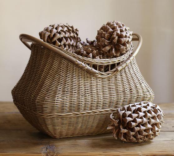 Jacquelyne Rattan Wood Handled Basket