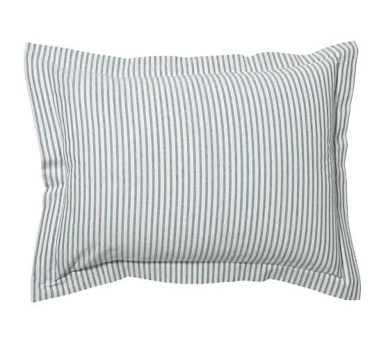 Vintage Ticking Stripe Sham, Standard, Blue