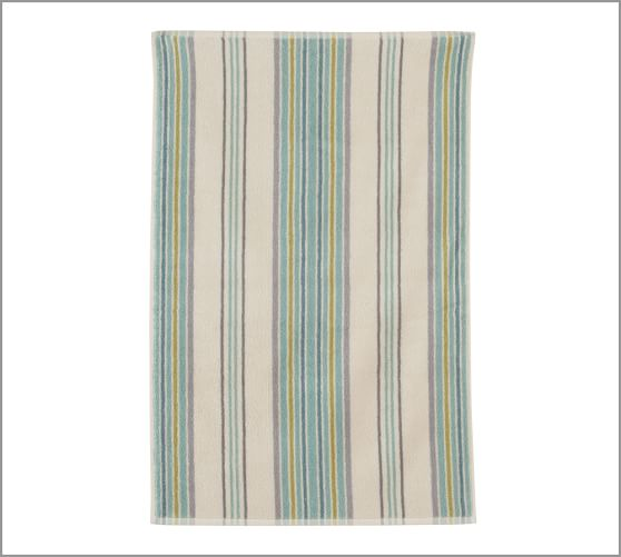 Jenny Stripe Organic Cotton Jacquard Hand Towel, Blue