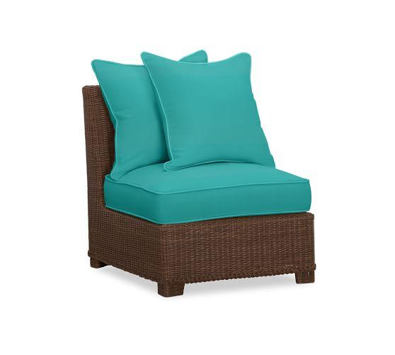 Palmetto Armless Chair Sectional Cushion Slipcover, Sunbrella® Aruba