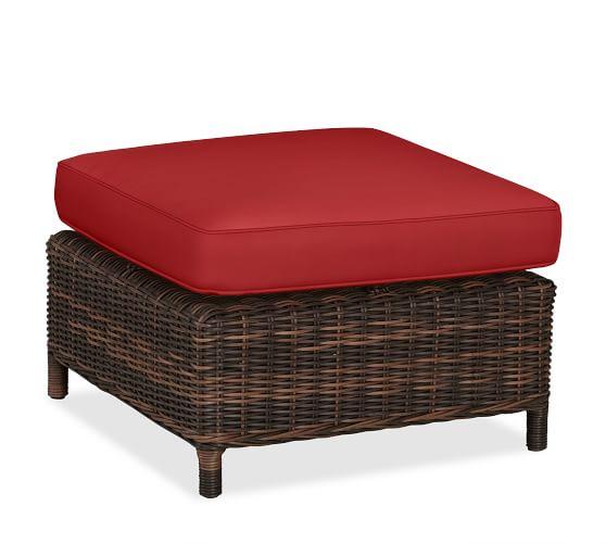 Torrey Sectional Ottoman Cushion Slipcover, Sunbrella® Jockey Red