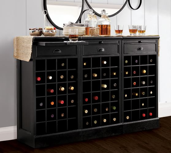 Wine Buffet, 3 Wine Grid Bases, Black