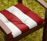 Tufted Outdoor Dining Chair Cushion, Outdoor Canvas PB Classic Stripe, Cherry Red