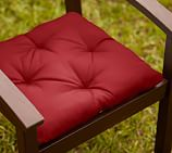 Tufted Outdoor Dining Chair Cushion, Outdoor Canvas, Cherry Red