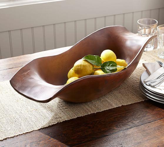 Vintage Wood Carved Oval Bowl